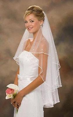 White/Ivory 2T Wedding Bridal Add Rhinestones Fingertip Veil Cathedral With Comb