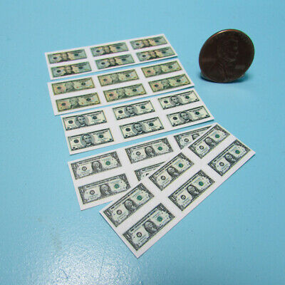 Dollhouse Miniature Money $1's, $5's, $10's & $20's - Printed to Detail ~HR56016