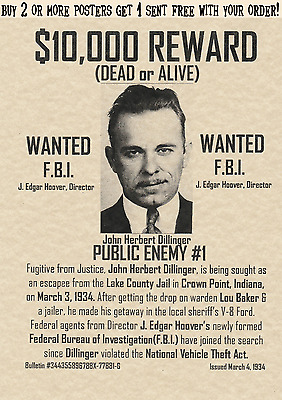 John H. Dillinger~ Wanted Posters Gangster Fbi Hoover Mob Gang Mafia Bank Rob