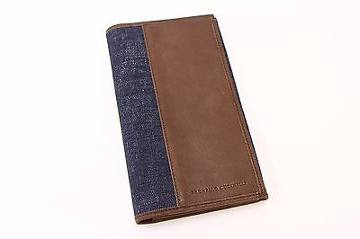 NWT$695 Brunello Cucinelli 100% Leather &Denim Logo Branded Gusseted Wallet A176