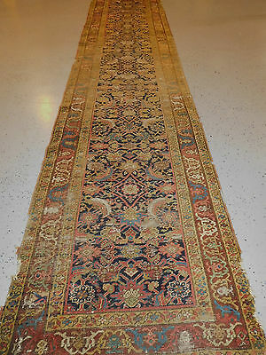 Antique NW Persian Kurdish rug 2.11x13.5  lovely runner circa 1880s distressed