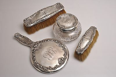 VINTAGE 1893 WHITING STERLING SILVER Art Nouveau Vanity Set 3905