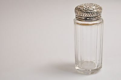 Antique 1906 English London Sterling Silver 925 Cut Glass Jar Vanity Container