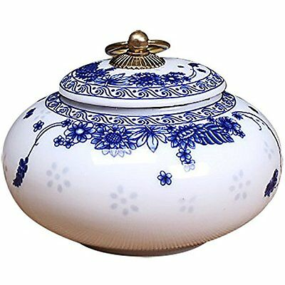 Blue And White Porcelain, HakkaGirl Small Ceramic Container With Lid For Tea,