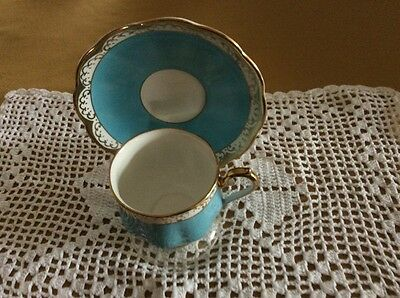 Vintage Royal Albert Bone China Cup & Saucer Turquoise.
