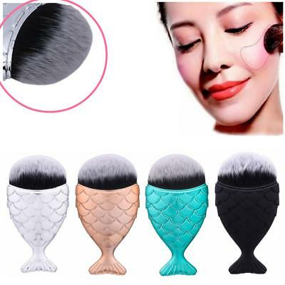 New Fish Scale Mermaid Cosmetic Brush for Face Powder Foundation Blusher Makeup