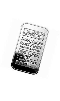 1 Oz Sealed Johnson Matthey Silver Bar .999 Fine JM Bullion Rare Art Ounce