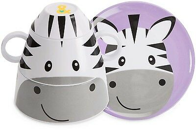 Izzy and Owie 4pc. Stackable Dinner Set Baby Toddler Zebra NEW Izzie Plate Cup