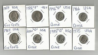 Collection Of 8 Coins From Usa See Scan & Description