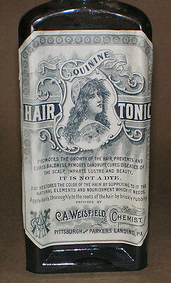 Weisfields Quinine Hair Tonic Vintage Glass Medicine Bottle With Cork Top