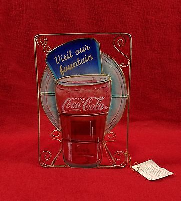 """Coca Cola Stained Glass Candle Holder 1999 """"Visit our fountain"""""""