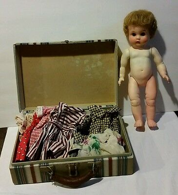 "Vtg Horsman 15"" Sleepy Eye Doll W/ Suitcase & 6 Outfits"