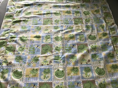 "Baby Boy Light Blue Frogs Flannel Receiving Blanket 30"" x 30"" Handmade."