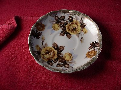 Vintage Napco China Hand Painted Saucer yellow rose pattern SD141
