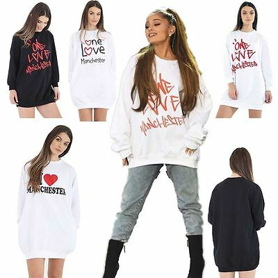 New Ladies Womens Celebrity Printed One Love Manchester Sweatshirt Top Jumper