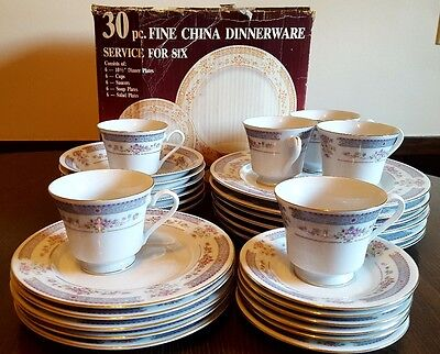 Crescent Fine China Jie Pai European Collection Service for 5 Dinner Plate Bowls