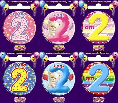 Expression Factory I AM 2 TODAY Happy 2nd Birthday Badge Girl Boy Pink Blue 55mm