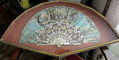 Antique Victorian Hand Fan ~ Mother of Pearl ~ Framed ~ Perfect Condition