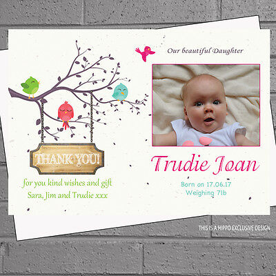 New Baby Thank you Cards Birth Announcement Personalised Girls  x12 H1605