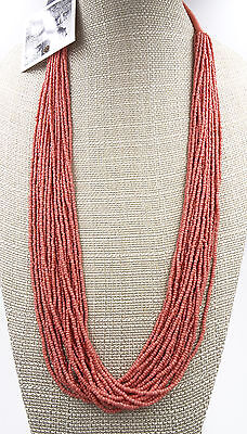 New Coral Seed Bead Necklace by Anthropologie NWT #N2397