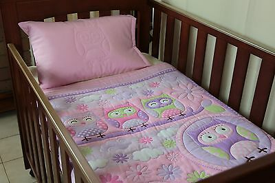 Quilt Baby Pink Owls & Pillow Case