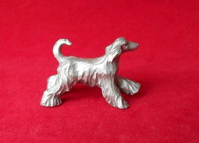 Old Small SOLID Pewter Metal Afghan Hound  Dog Figurine SIGNED