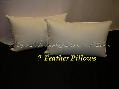 2 Duck Feather King Size Pillows - Aust Made 100% Cotton Casing Online  Sale