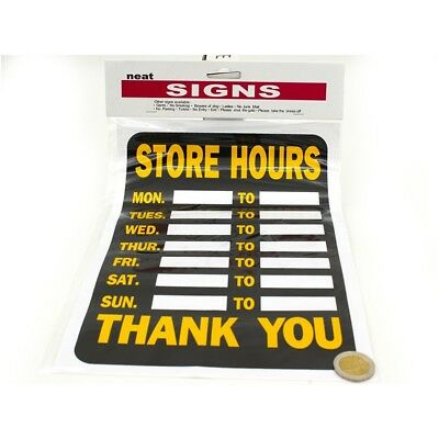 STORE OPENING HOURS SIGN with space for your own time monday to sunday