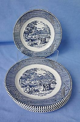 "ROYAL CURRIER & IVES Ironstone Dinnerware  Five 6 1/4"" B&B Plates  Made USA"