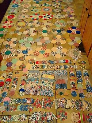 Lot of 47 Vintage1930's Flower Garden Quilt blocks quilt pieces and Fabric