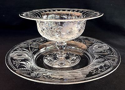 Hawkes  Copper Cut Rock Crystal Dessert Compotes And Under Plates Set Of 12