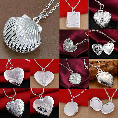 Women 925 Silver Filled Locket Hollow Heart Book Photo Pendant Chain Necklace