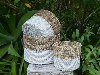Weaved Natural & white seagrass planter baskets. Set x 3