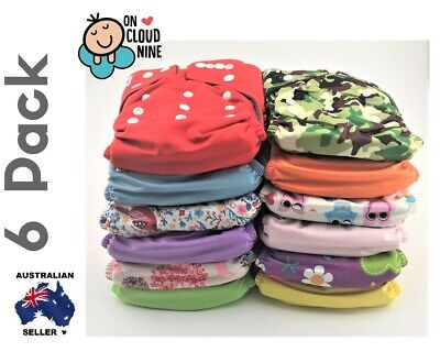 6 Bamboo Cloth Nappies Baby GIRL Reusable Charcoal Nappy Diaper & 5Layer Insert