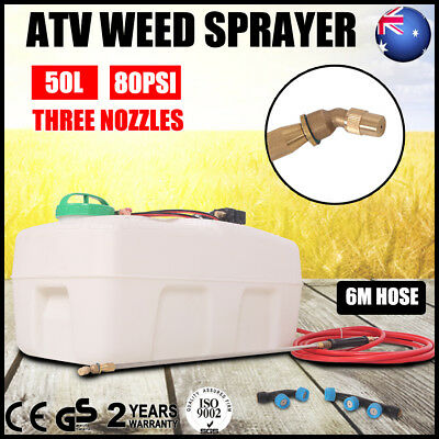 50L ATV Garden Weed Sprayer 12V Pump Driven Spot Spray Chemical Tank 3 Nozzle AU