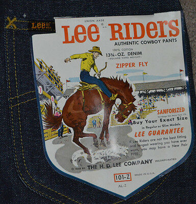 Vtg NWT Lee Riders Authentic Cowboy Pants Jeans Sanforized Western 29x30 101-Z