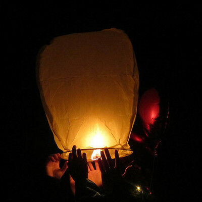 Chinese White Paper Lanterns 20/50Pcs Sky Fly Candle Lamp For Wish Party Wedding