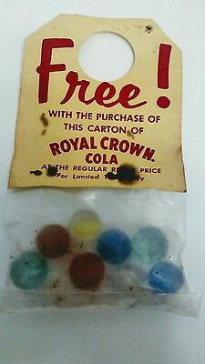Vintage ROYAL CROWN COLA MARBLES Bottle Topper Bag, FREE with purchase of Carton