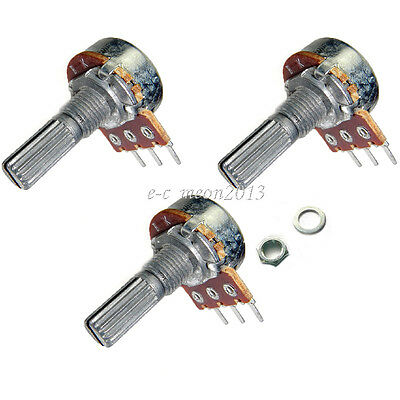 10 pcs 3-Pin 250K ohm Linear Taper Rotary Potentiometer Panel pot B250K 20mm