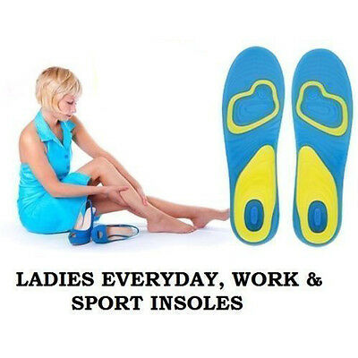 Mens Womens Insoles Walking Comfort Boots Arch Heel Support Massaging Gel Insole