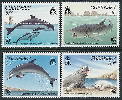 1990 Gb Guernsey Wwf Marine Life Set Of 4 Fine Mint Mnh/muh