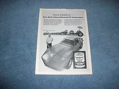 "1983 Pennzoil Motor Oil Vintage Ad with Gary Beck ""Race Car or Personal Car..."""