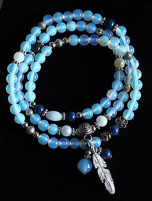 Opalite Crystal Natural Gemstone Bracelet or Necklace Feather Ideal Gift