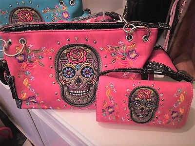 Womens Skull Pink Multi Handbag & Wallet Set Sugar Skull Nwt