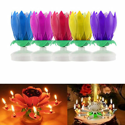 Blossom Lotus Light Candle Musical Rotating Flower Lamp Birthday Party