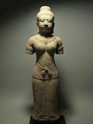 Khmer Sculpture Sandstone Female Figure 'baphuon Style' Cambodia Artifact 11Th C