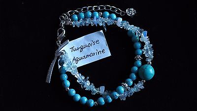 Turquoise Crystal Natural Gemstone 2 Strand Clip Bracelet Protection Ideal Gift