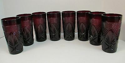 """Qty - 8  Cristal D'arques Durand Antique Ruby Red 6.25"""" Cooler Tumblers"""