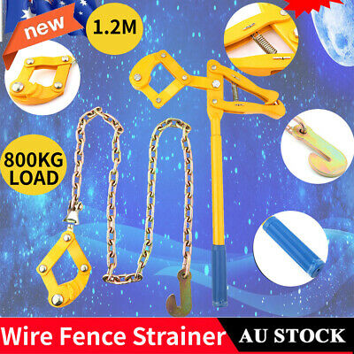 Wire Fence Strainer + Plain Barbed Chain Electric Fencing Repair Pulling Tool AU