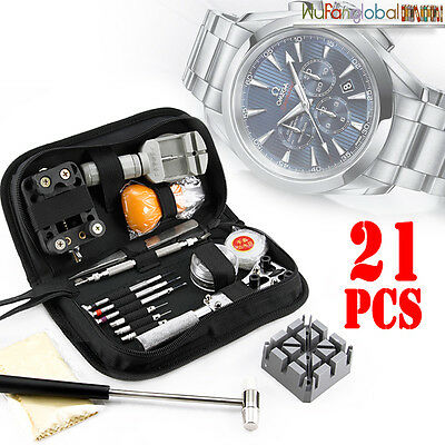 21Pcs Horologe Watchmaker Link Pin Remover Case Opener Watch Repair Tool Kit Set
